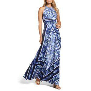 Eliza J Scarf Floral Print Halter Maxi Dress Navy